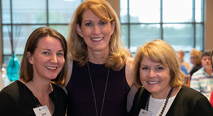 Jamie Spatola, Debbie Antonelli, and Ann M. Reed, MD, pose together at the Duke Children's Donor Luncheon.
