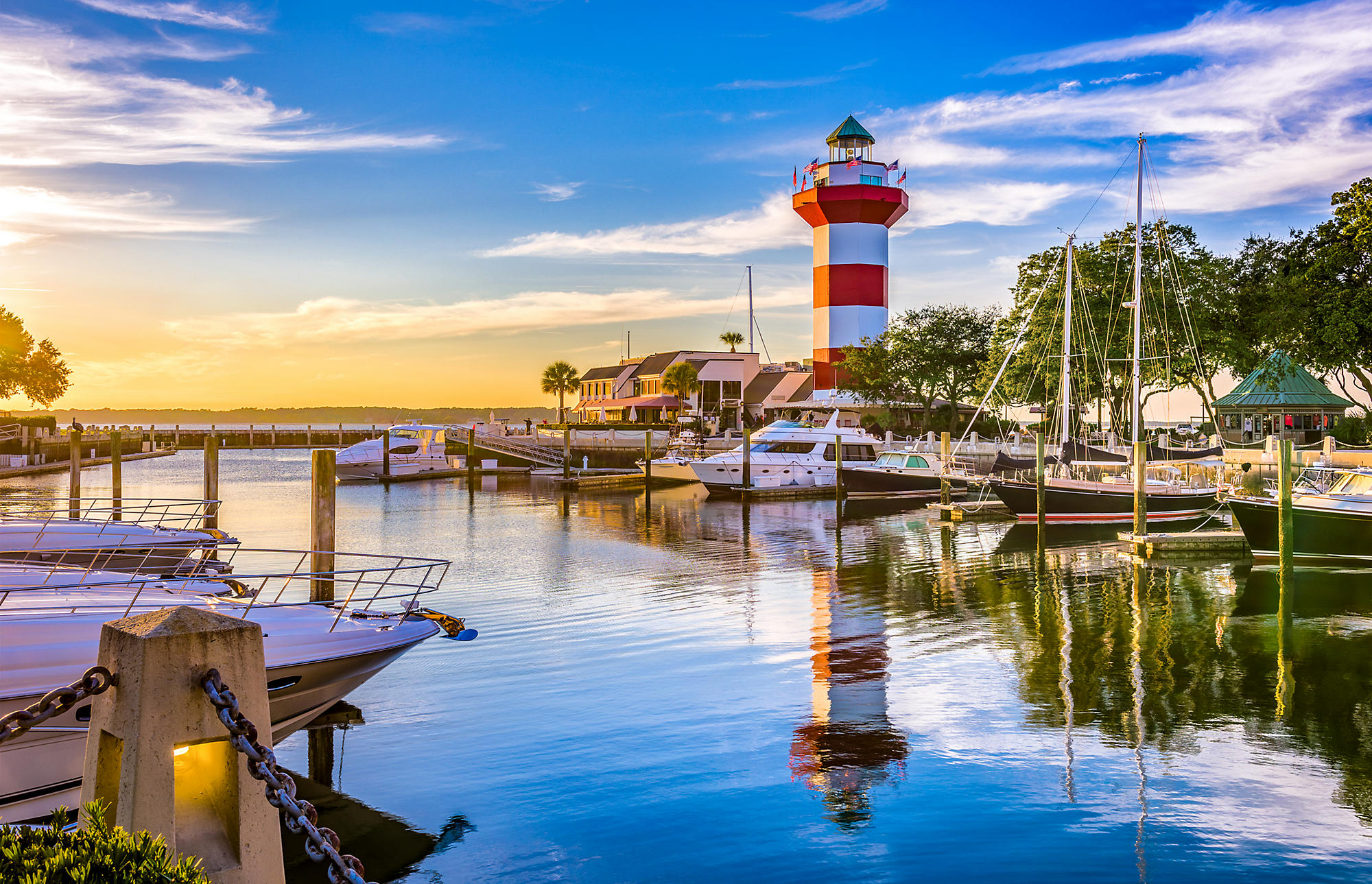 Hilton Head island with a view of the light house.