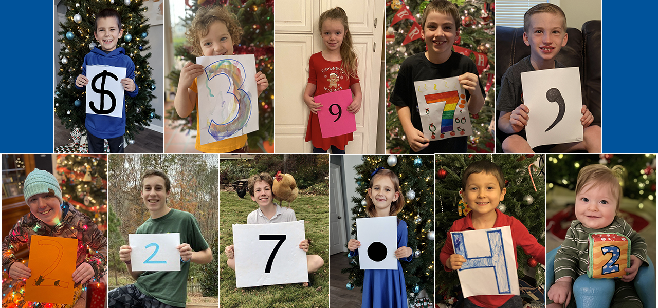 A photo collage of numerous children smiling and holding numbers; each photo is different; the numbers spell our $397,227.42.